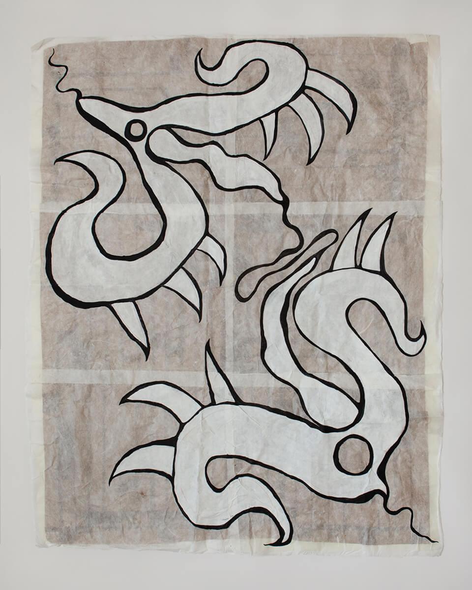 Copulation, 107x136cm, Acrylic on Handmade Japanese Washi Paper