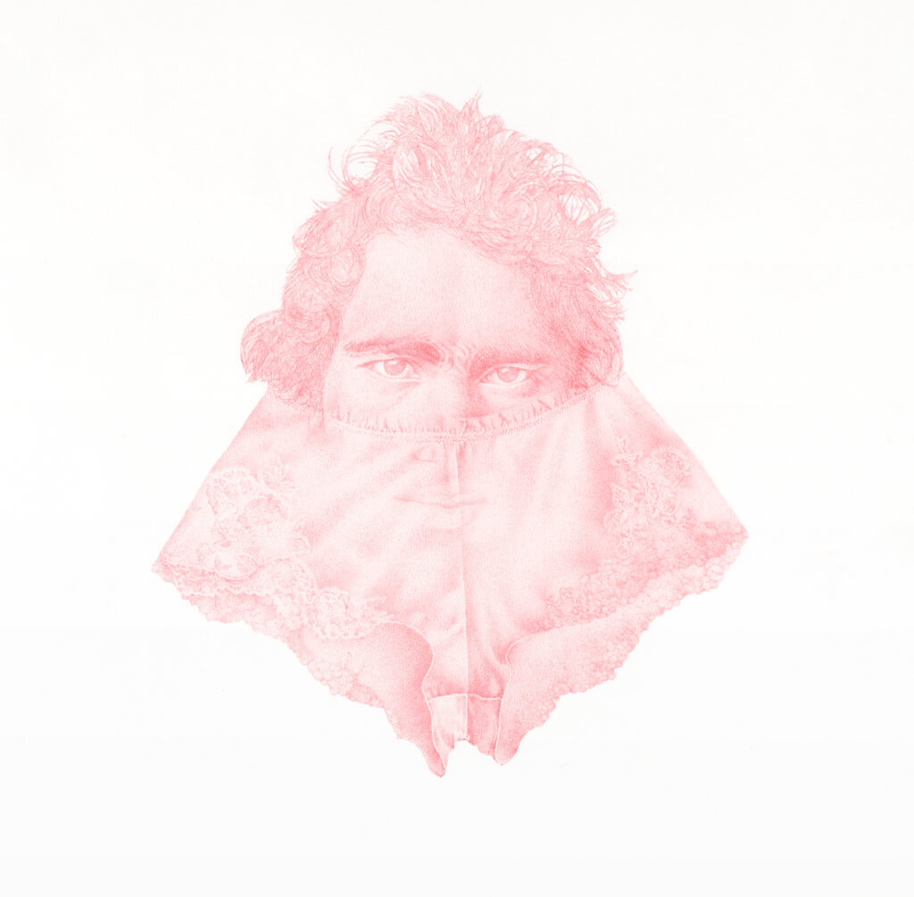 Man In Pink, colored pencil, 68 x 76 Cm, 2020