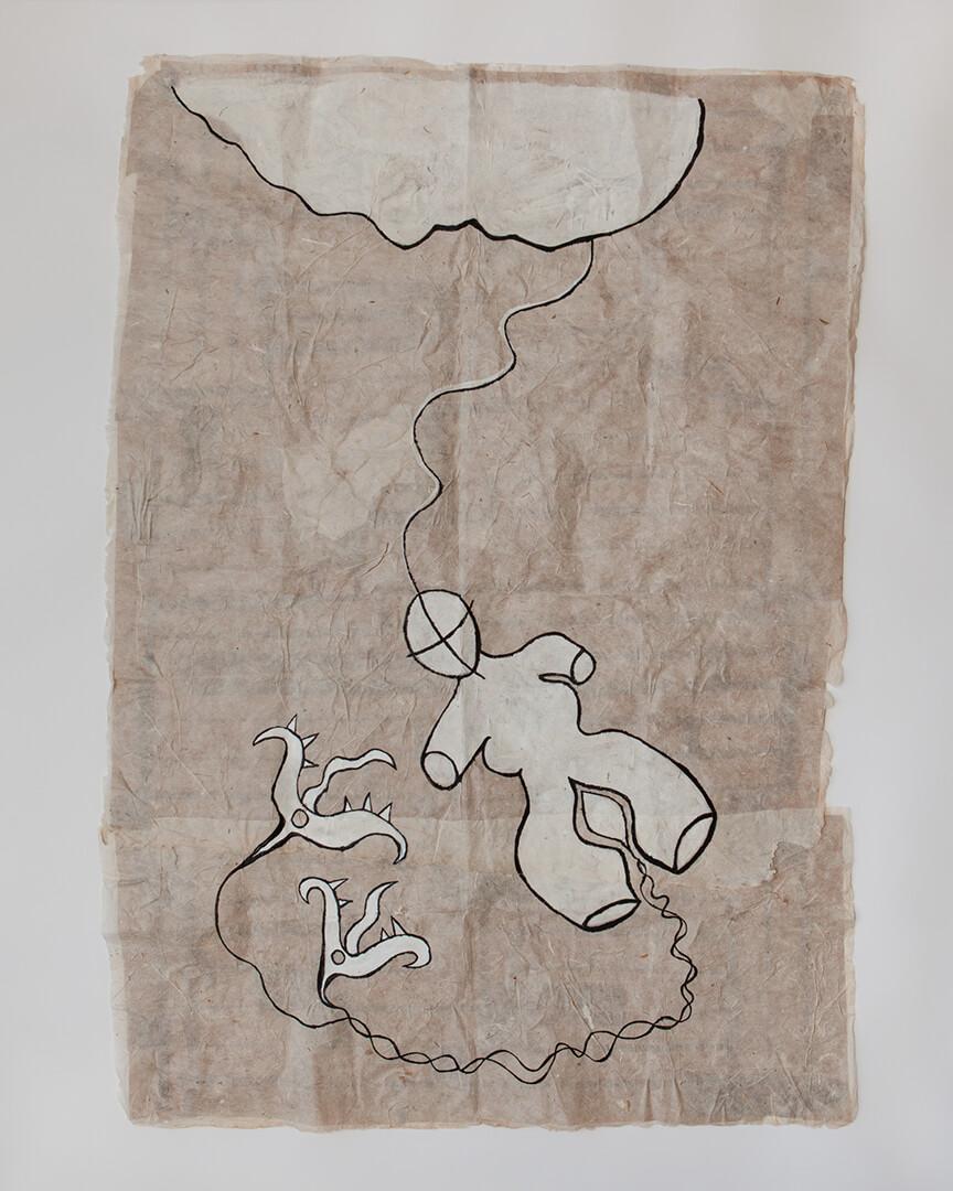 Prometheus, 85x125cm, Acrylic on Handmade Japanese Washi Paper