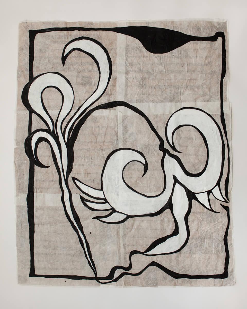 Triffid, 107x136cm, Acrylic on Handmade Japanese Washi Paper