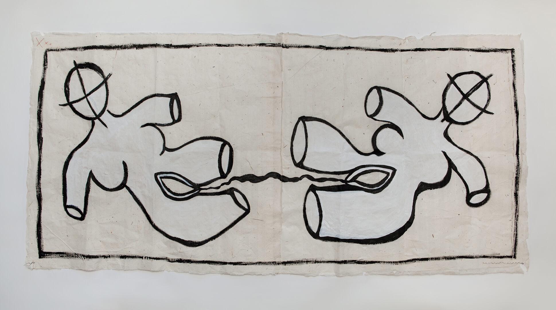 United #2, 85x180cm, Acrylic on Handmade Japanese Washi Paper